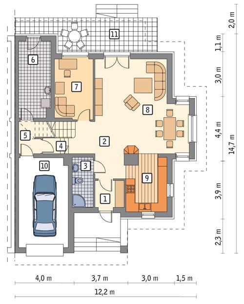 Rzut parteru POW. 106,8 m²