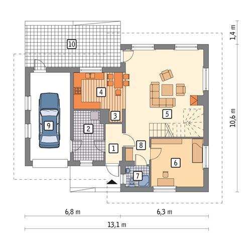 Rzut parteru POW. 90,2 m²