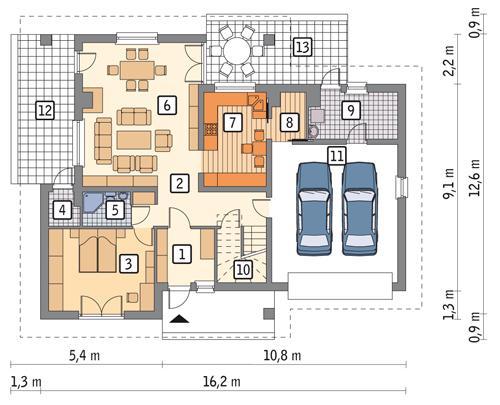 Rzut parteru POW. 127,2 m²
