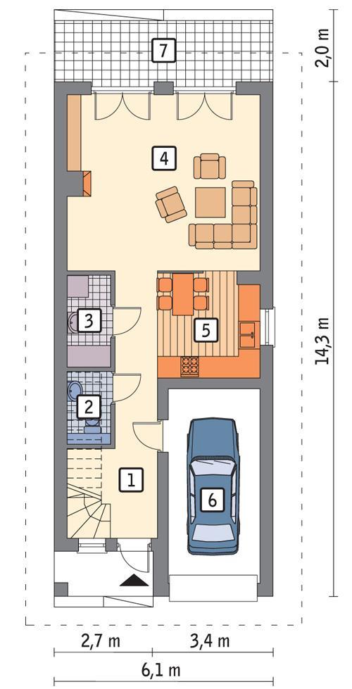 Rzut parteru POW. 64,2 m²