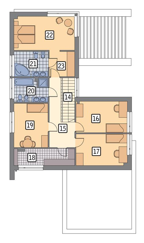 Rzut piętra POW. 105,9 m²