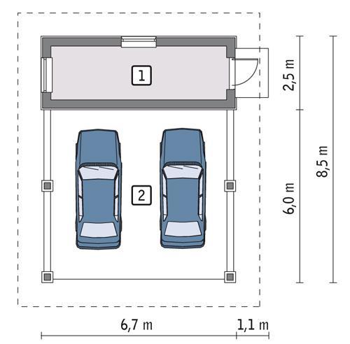 Rzut parteru POW. 11,0 m²