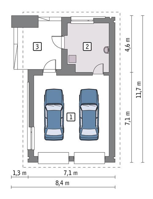 Rzut parteru POW. 52,5 m²