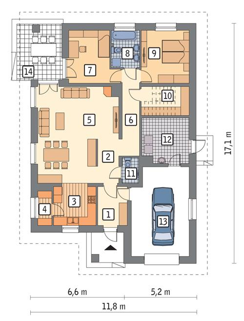 Rzut parteru POW. 134,7 m²
