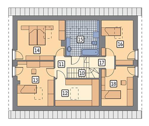 Rzut poddasza: wariant 1 POW. 91,9 m²