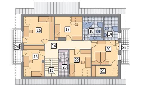 Rzut poddasza POW. 129,7 m²