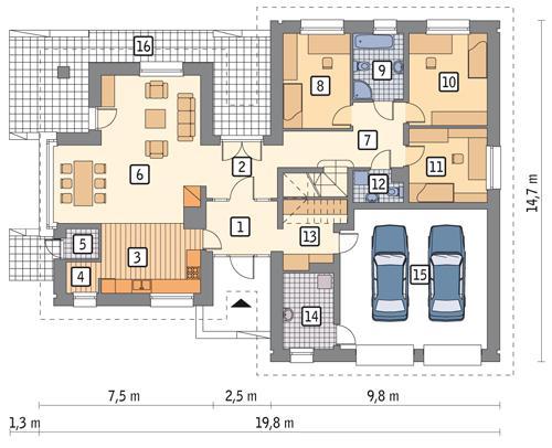 Rzut parteru POW. 166,1 m²