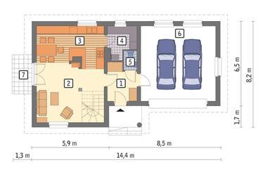 RZUT PARTERU: wersja podstawowa POW. 42,1 m²